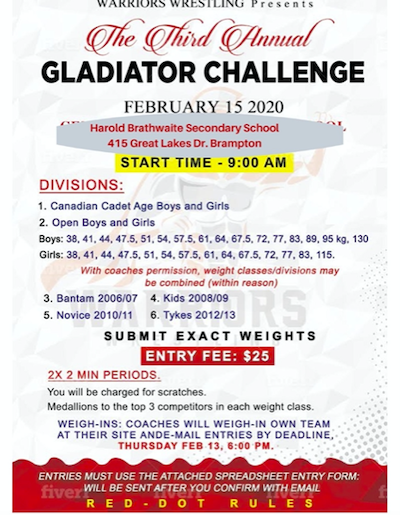 Results from the weekend's Gladiator's Challenge
